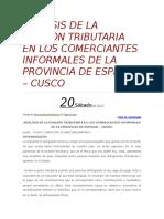 Analisis de La Evasion Tributaria en Los Comerciantes Informales de La Provincia de Espinar