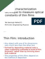 Optical Characterization Technique