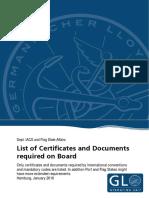 List of Certificates
