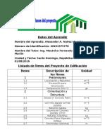 Listado de Ítems Del Proyecto de Edificación