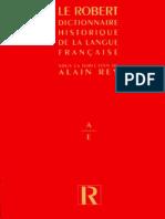 Le Robert Dictionnaire Historique 1a