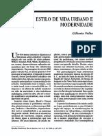 Estilo de Vida Urbano e Modernidade, Gilberto Velho