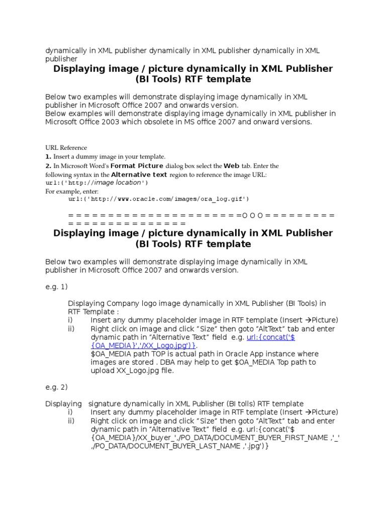 Displaying Image Picture XML Publisher | Xml | Uniform