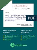 Datos y Reflexiones Acerca Del Uso Del Metilfenidato