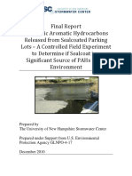 Watts et al. (2010) Final Report Polycyclic Aromatic Hydrocarbons Released from Sealcoated Parking Lots – A Controlled Field Experiment to Determine if Sealcoat is a Significant Source of PAHs in the Environment