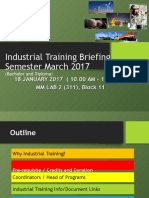 Briefing for Industrial Training Updated 18 Jan 2017