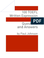 PDF eBook 100 TOEFL Written Expression Questions and Answers de Minute Help Guides Livros Do Brasil