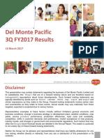 Del Monte Pacific Ltd 3QFY2017 Results Presentation