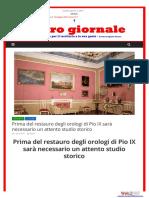Prima del restauro degli orologi di Pio IX sarà necessario un attento studio storico - L'altrogiornale.it, 2 aprile 2017