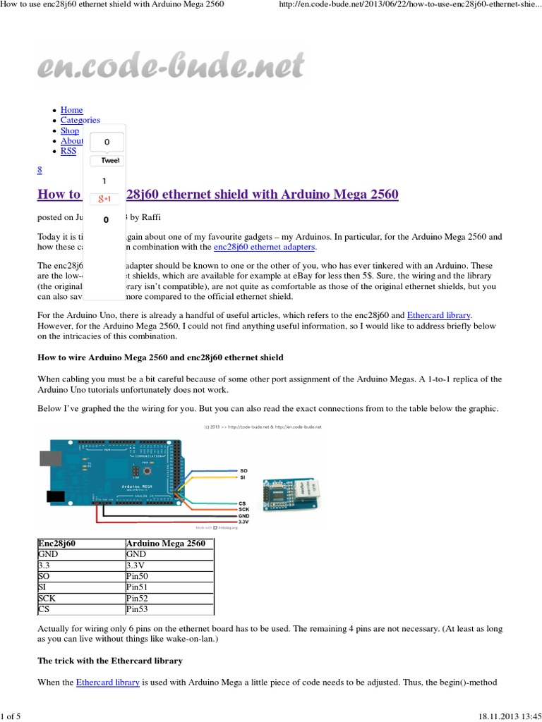 How to Use Enc28j60 Ethernet Shield With Arduino Mega 2560