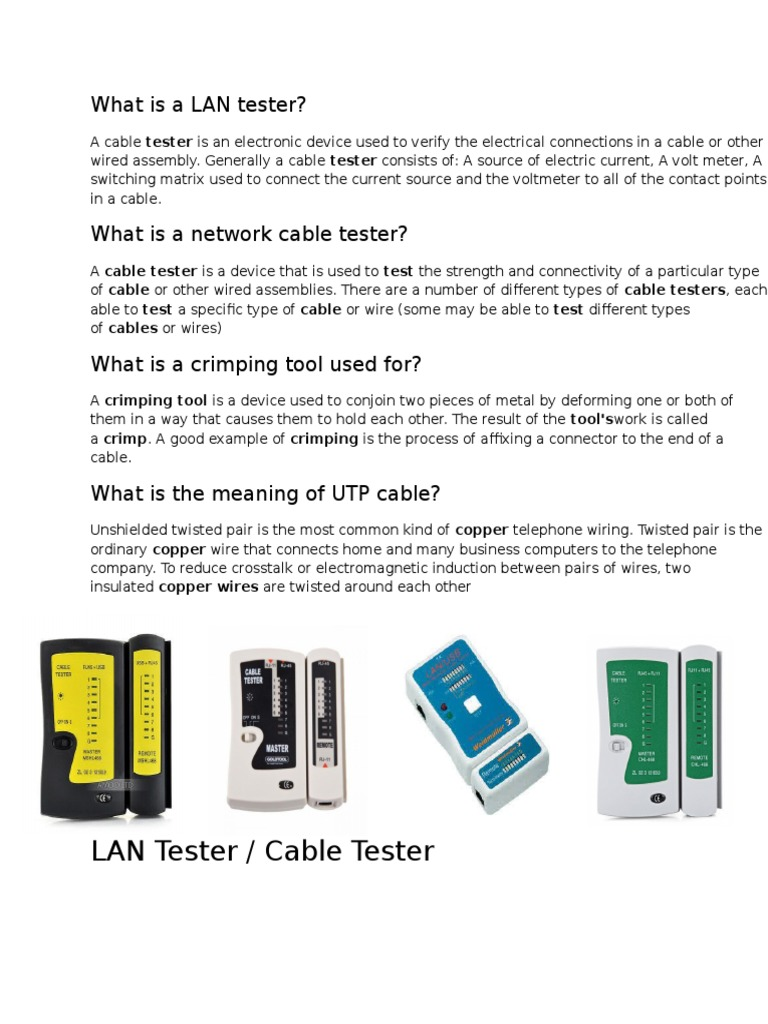 What is a LAN Tester | Cable | Manufactured Goods