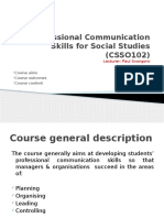 Professional Communication Skills for Social Studies (CSSO102
