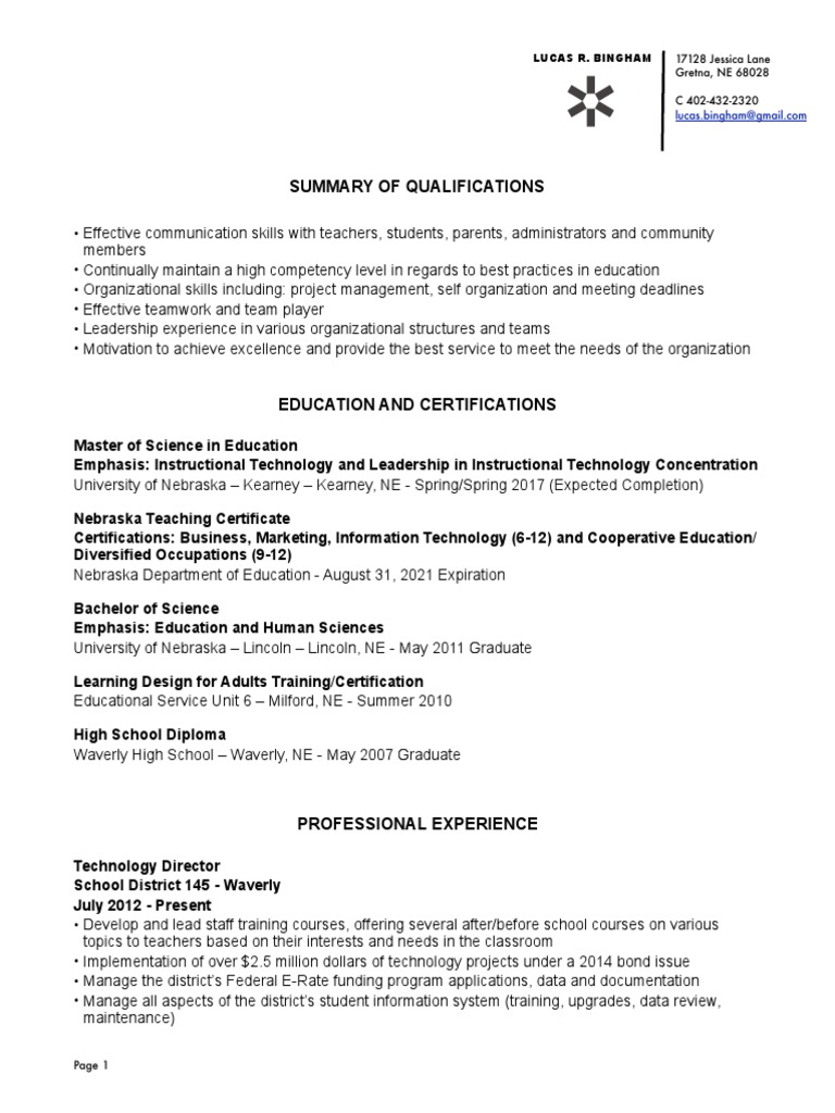 Bingham Resume Educational Technology Graduate School