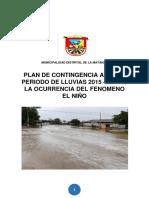 Plan Contingencia Periodo Lluvias 2015 2016 Ocurrencia Fenomeno El Nino