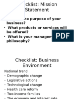 Checklist Mission Statement and Business Env