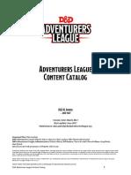 Adventurers League Content Catalog