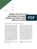 Analisis  De Errores En El Aprendizaje Del Espanol