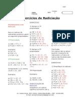 Lista de Exercicio Radiciação 9º Ano_2017 Gabarito