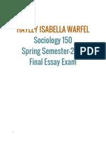 Sociology150SpringSemester-2016FinalEssayExam