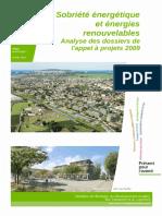 Sobriété Énergétique Et Énergies Renouvelables - Analyse Des Dossiers de l'Appel à Projets 2009