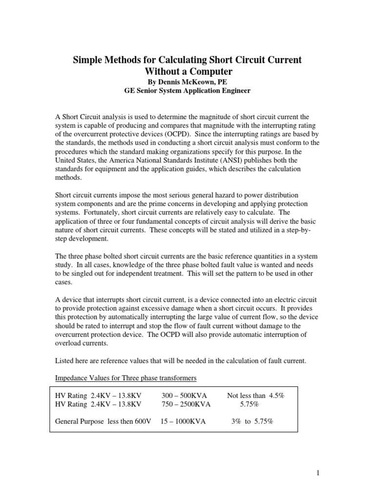 Short Circuitpdf Transformer Network Analysis Electrical Circuits Shortcircuit