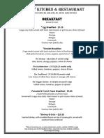 Victory Kitchen & Restaurant Breakfast Menu
