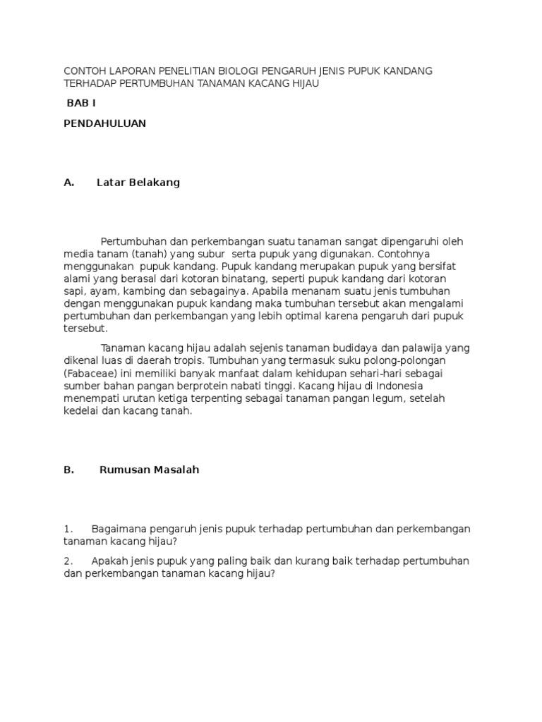 Contoh Proposal Agroteknologi Pertanian Proposal Skripsi