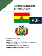 Posición Oficial Del Sindicato de La Prensa Topico A