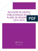 2016-2019 Inclusión GruposPoblacionales Planes DeDesarrollo
