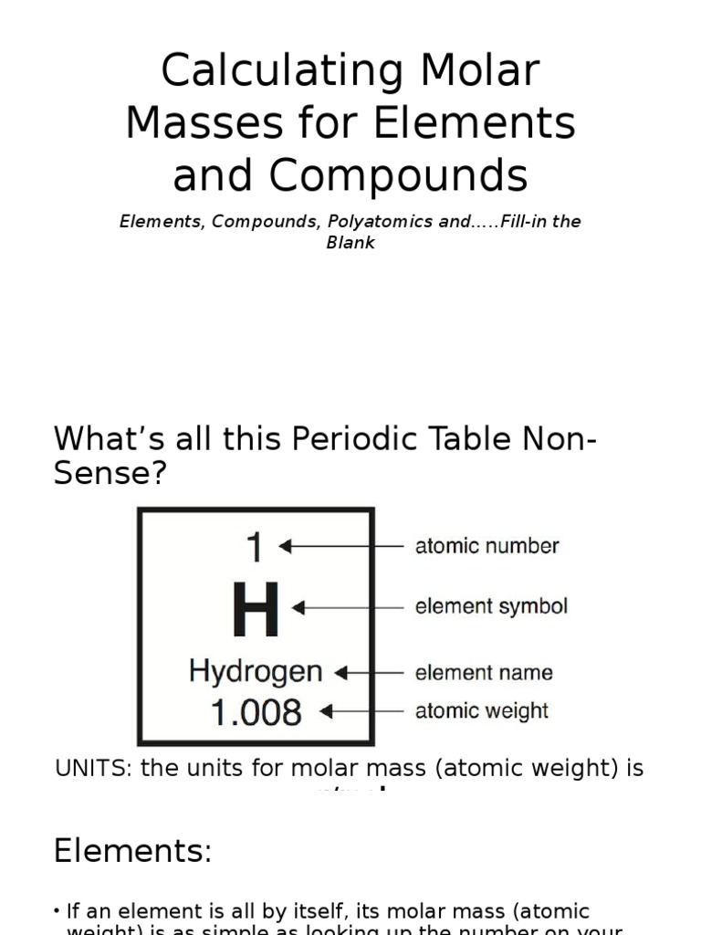 Physical Science 20 Molar Calculations Chemical Compounds Mole