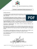 Carta-invitación de Mons. Arturo Fajardo (Encuentro-rertiro 2017)