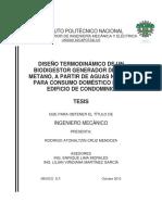 Diseño Termodinamico de Un Biodigestor Generador de Gas Metano
