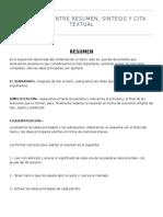 resumen, sintesis y cita textual