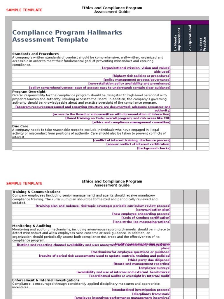 Compliance program assessment template regulatory compliance audit pronofoot35fo Images