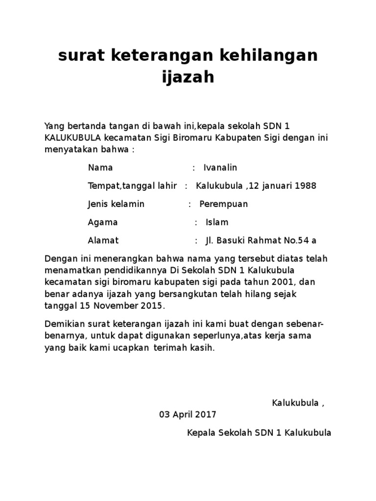 Surat Keterangan Kehilangan Ijazah