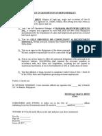 Affidavit of Assumption of Responsibility