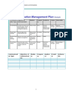 Communication Management Plan Template