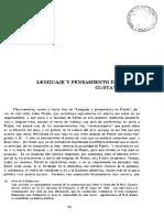 Lenguaje y Pensamiento en Platon Gustavo Bueno