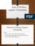 Factors of Perfect Square Trinomials