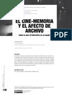 Cine-memoria y el afecto del archivo instalación interactiva