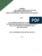 ARAUJO. as Possibilidades de Um Diálogo a Ontologia Do Ser Social de Lukács e a Nova Sociologia Econômica de Granovetter