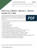 Intro a SQL y MySQL - Ejercicio 1 - Ejercicio Resuelto Con 1 Tabla