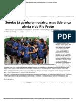 Sereias Já Ganharam Quatro Mas Liderança Ainda é Do Rio Preto