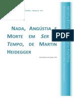 Nada , Angústia e Morte Em Ser e Tempo, De Martin Heidegger - Araujo