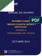 Manual SOCE Menor Cuantía de Bienes y Servicios Proveedores