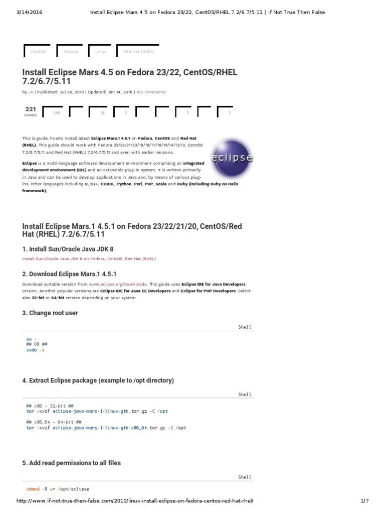 Install Eclipse Mars 4 5 on Fedora 23_22, CentOS_RHEL 7 2_6 7_5