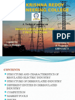 Dregulation of Electrical Utility Systems