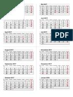 3-Monatskalender Übersicht 2017