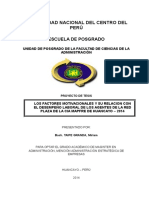 Tesis Posgrado Administracion - Los Factores Motivacionales y Su Relacion Con El Desempeño Laboral de Los Agentes de La Red Plaza de La CIA Mapfre de Huancayo – 2014