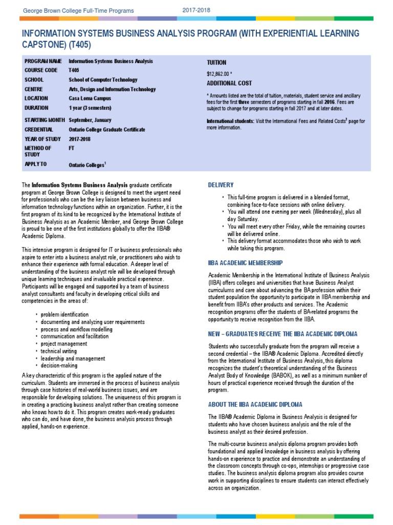Business Analyst T405 2017 2018 | Business Analysis | Intelligence ...
